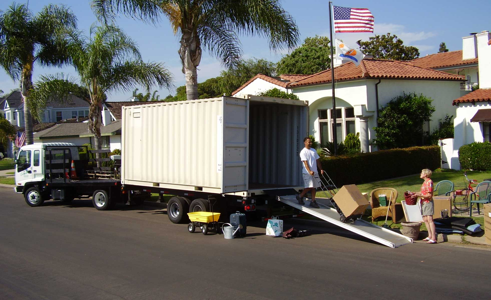 A person unloading a mobile storage unit in San Diego